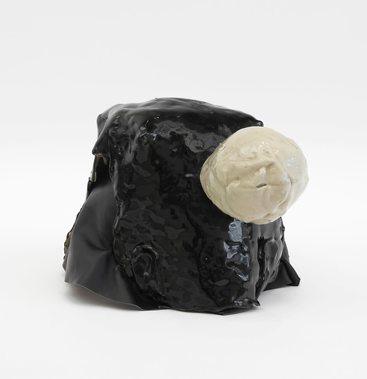 Caroline  Achaintre, Sack Bop, 2013 – 22 × 27 × 32 cm; Ceramic, leather; Image credit: courtesy of Arcade, London; Photo credit: Andy Keate